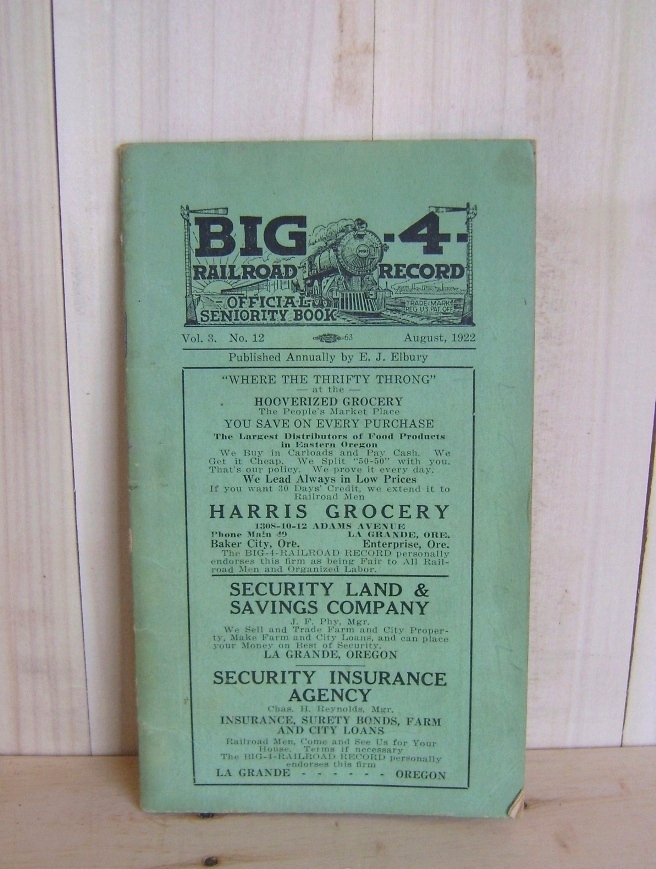 Image for Big 4 Railroad Record: Official Seniority Book (Vol 3. No. 12)Oregon and Washington Routes.
